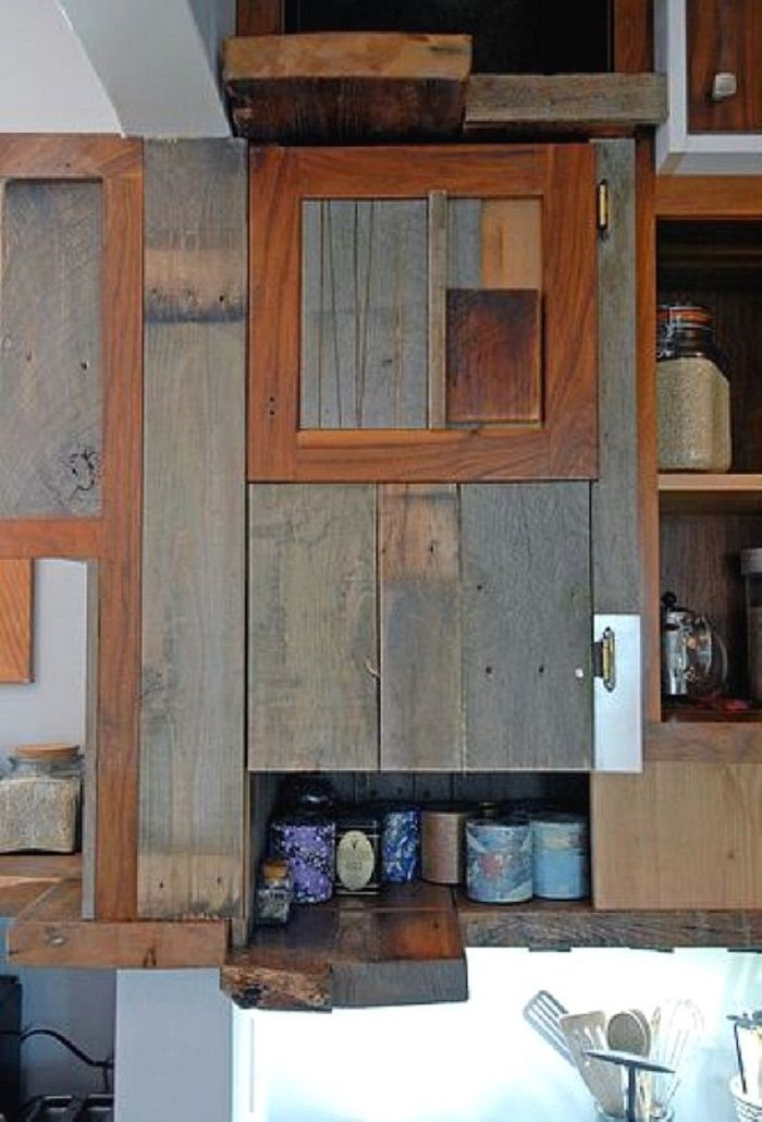 Wood Kitchen Cabinet for Rustic House : Awesome Reclaimed Wood Kitchen ...