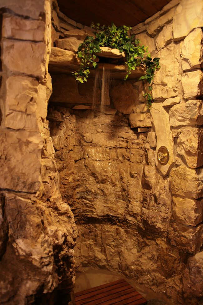 Rock wall shower My grotto of a bathroom Pinterest