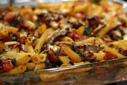 Baked ziti with spinach, tomatoes, and sausage. So, so good!
