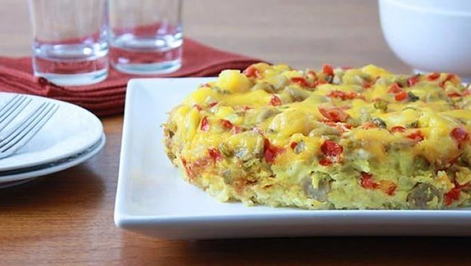 Make a delicious egg, sausage, cheese strata egg bake overnight in the ...