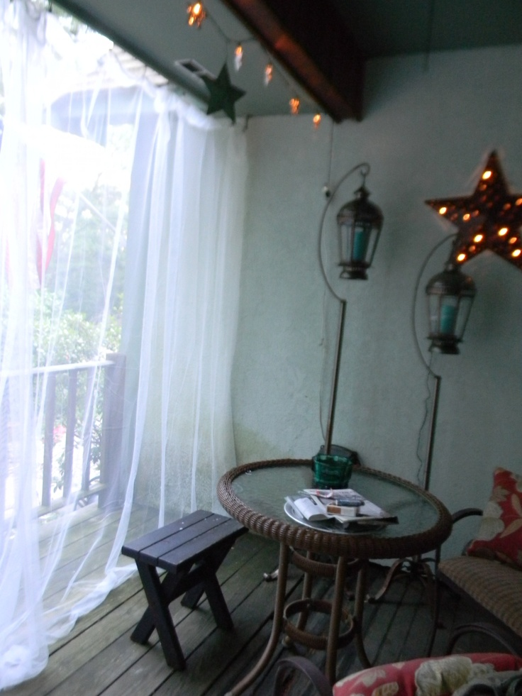 ikea curtains & curtain wire for outdoor patio
