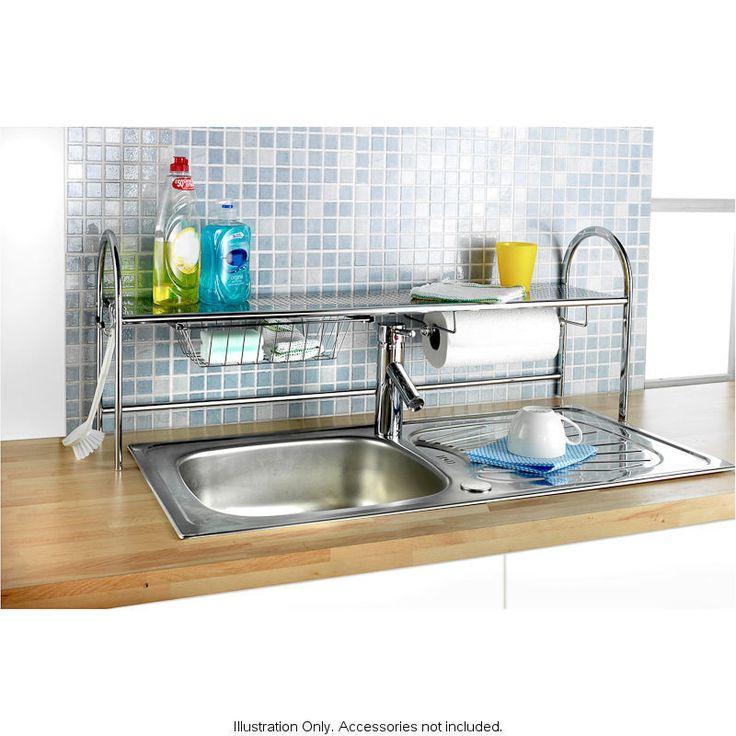 chrome over kitchen sink storage unit shelf pull out drawer kitchen r. Black Bedroom Furniture Sets. Home Design Ideas