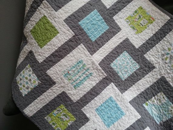 Modern Baby Quilt Patterns Free : Handmade, baby quilt with a modern, square design in blues, greens an?