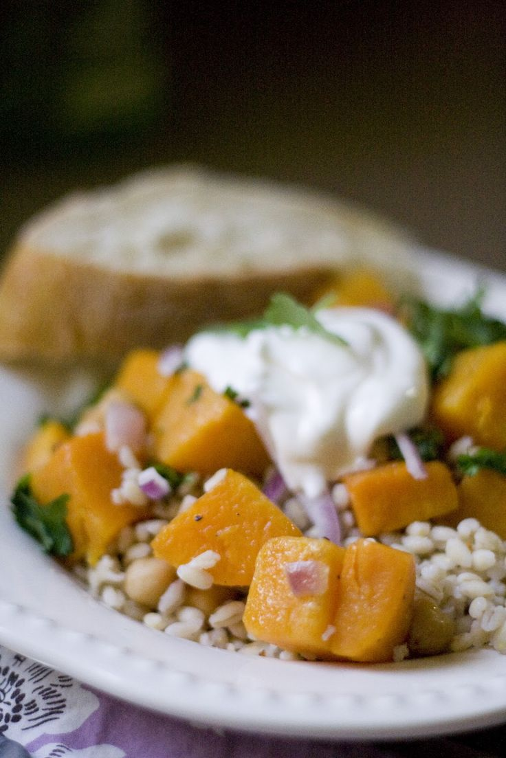 Farro And Roasted Butternut Squash Recipe — Dishmaps