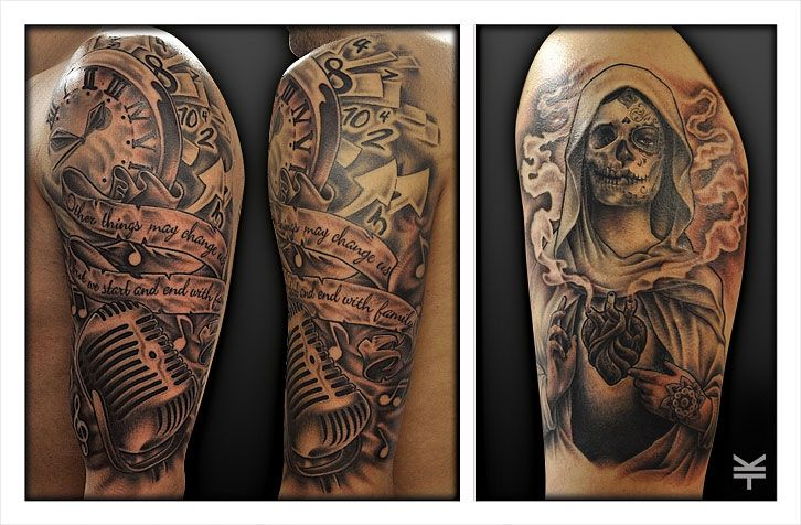 A custom old school music half sleeve and a day of the for Old school day of the dead tattoo