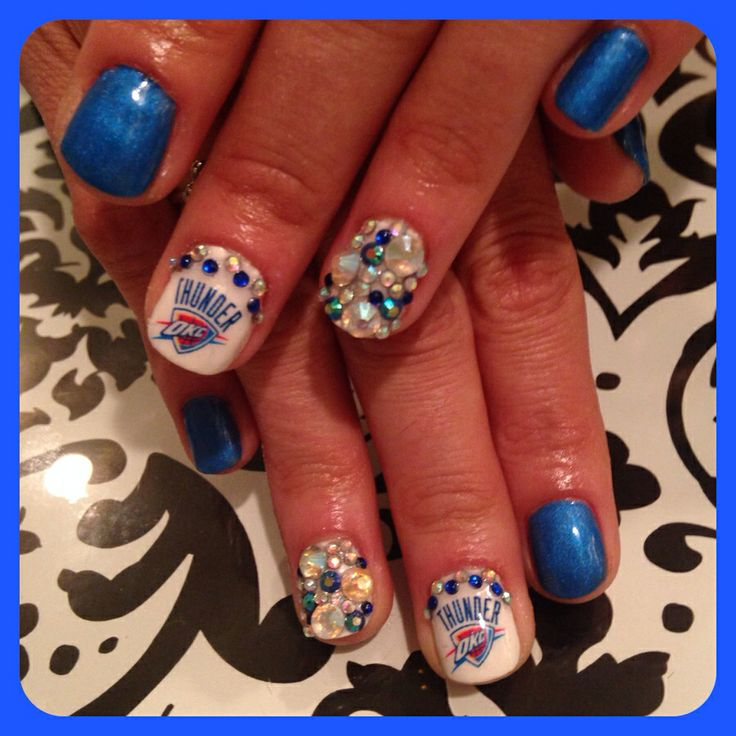 OKC Thunder Nail art design by ME! Find me at Salon Prodigy in OKC. By