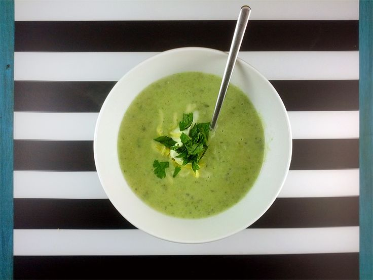 Roasted poblano and potato soup. Topped with cheese and a dollop of ...