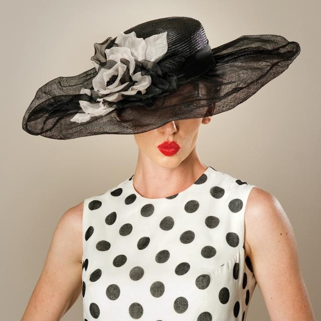Lexie, black sisal crown and puff brim sinamay rim with blush & black silk organza poppy rose hat by Louise Green