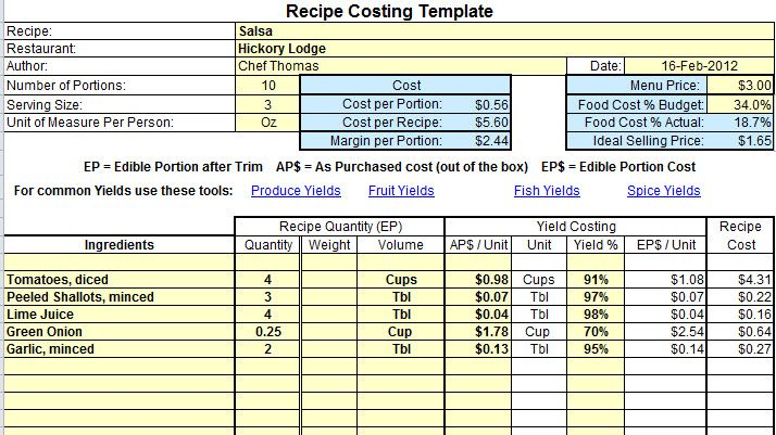 Excel Food Cost Recipe Template