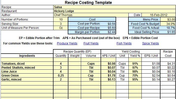 Excel food cost recipe template forumfinder Gallery