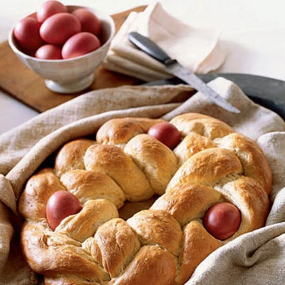 ... braided crown are hallmarks of tsoureki, classic Greek Easter bread