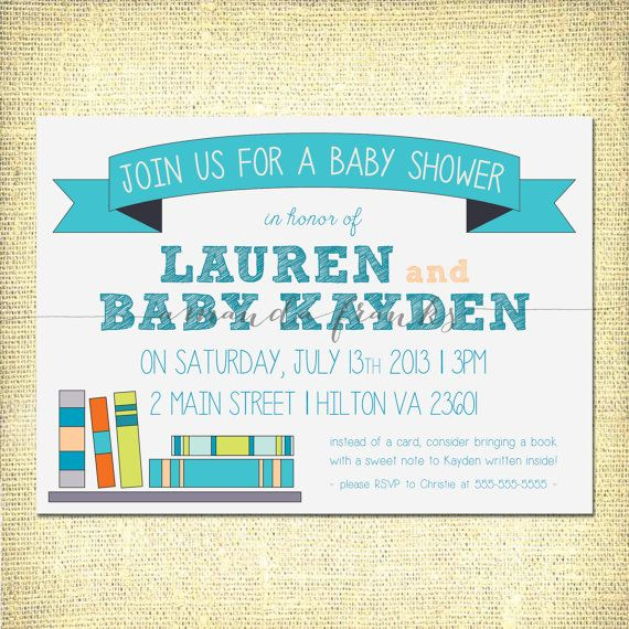 baby shower invitation book theme baby boy customizable digit