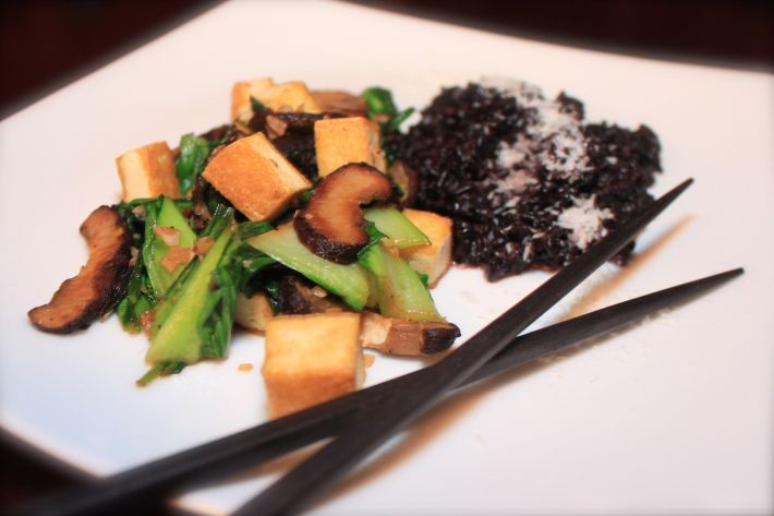 Tofu, Bok Choy And Portobello Mushroom Fried Rice Recipe — Dishmaps