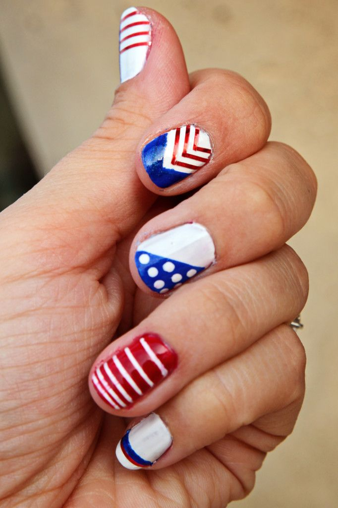 4th of july nail art diy