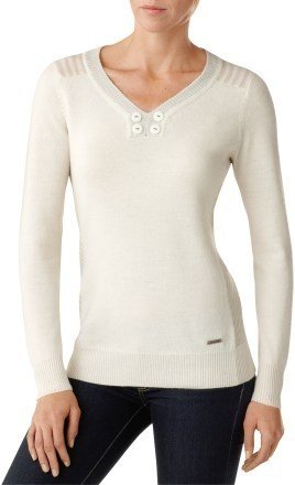 Just ordered this sweater after trying it on at REI, it is so soft and cute.  If you are a women's small I can get you a discount too.  SmartWool Piney Lake Henley Sweater.