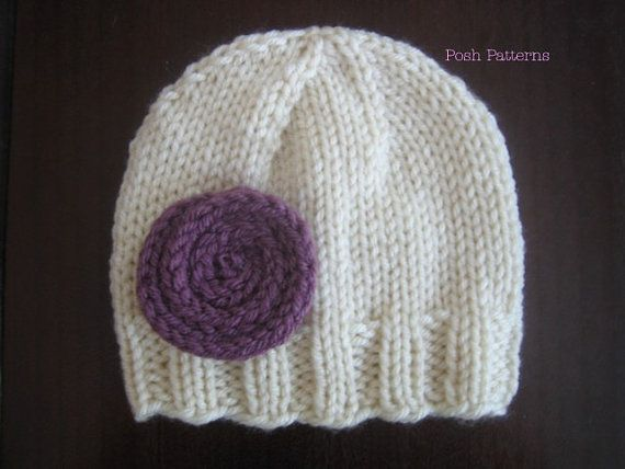 Knitting PATTERN - Easy Knit Beanie & Flower - PDF 282 - Includes 6 S?
