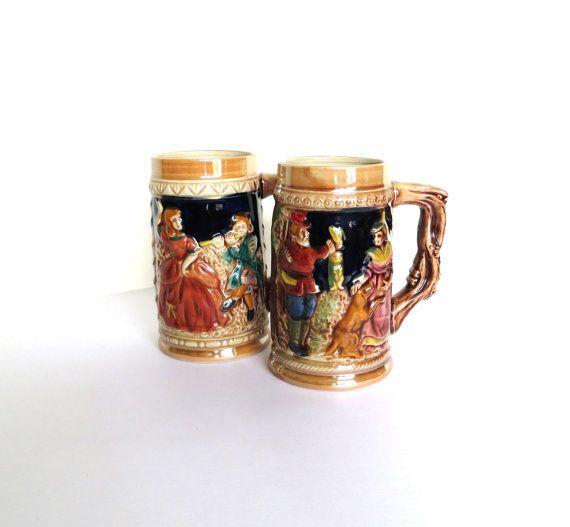 Japan Ceramic Mug   Stein   Set of Two   by almondtreevintage   18 00Japanese Ceramic Mugs