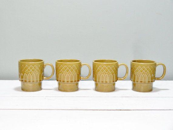 Set of Four Japanese Ceramic Stacking Mugs Retro by NewfoundFinds   16    Japanese Ceramic Mugs