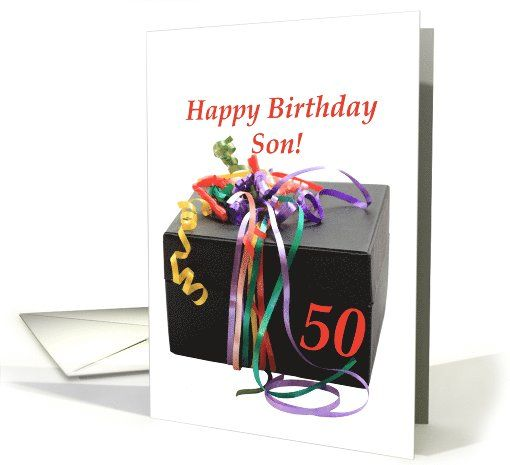 Son 50th Birthday Gift With Ribbons Card