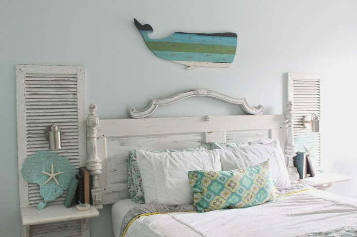 Shabby Chic Meets Beachy Themed Bedroom Custom Built Reclaimed Door