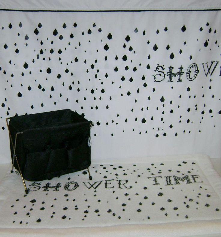 Cortinas De Baño Lavables:color negro, cortina de baño y alfombra haciendo juego