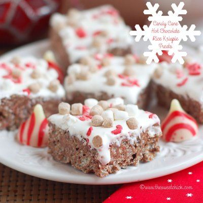 Candy Cane Hot Chocolate Rice Krispie Treats by The Sweet Chick