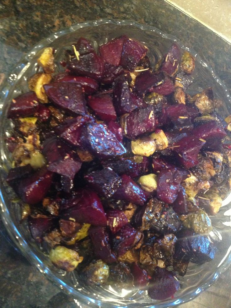 Roasted Beets and Brussel Sprouts | food and beverages | Pinterest