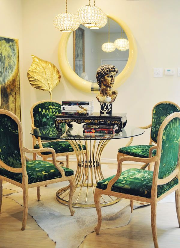 Love this fabric on these dining chairs! Looks like peacock feathers!