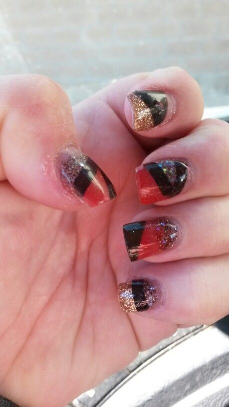 Fall nails by Tiffany Wynn | glitter nails | Pinterest