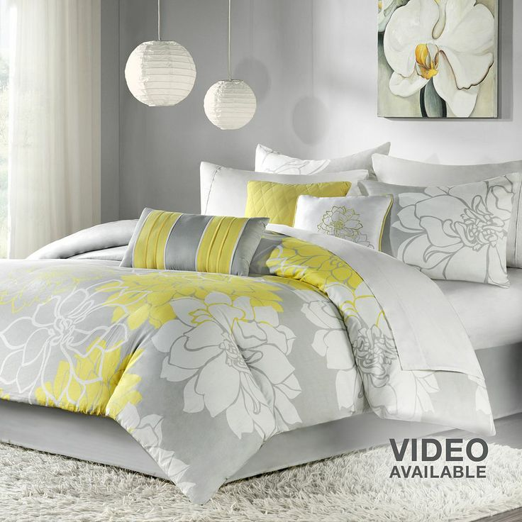 gray and yellow comforter home sweet home pinterest. Black Bedroom Furniture Sets. Home Design Ideas