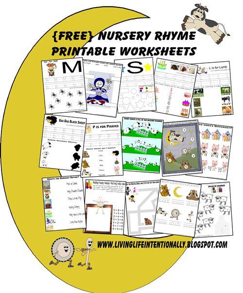{free} Nursery Rhymes & coordinating worksheets for kids 3-7