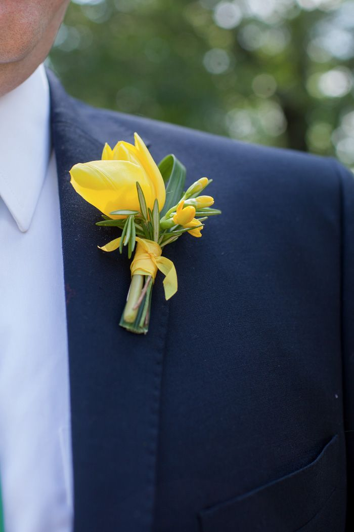 simple yellow tulip boutonniere // Fresh Yellow + Green Wedding in Madison, WI | Images by New Angus Studio Photography