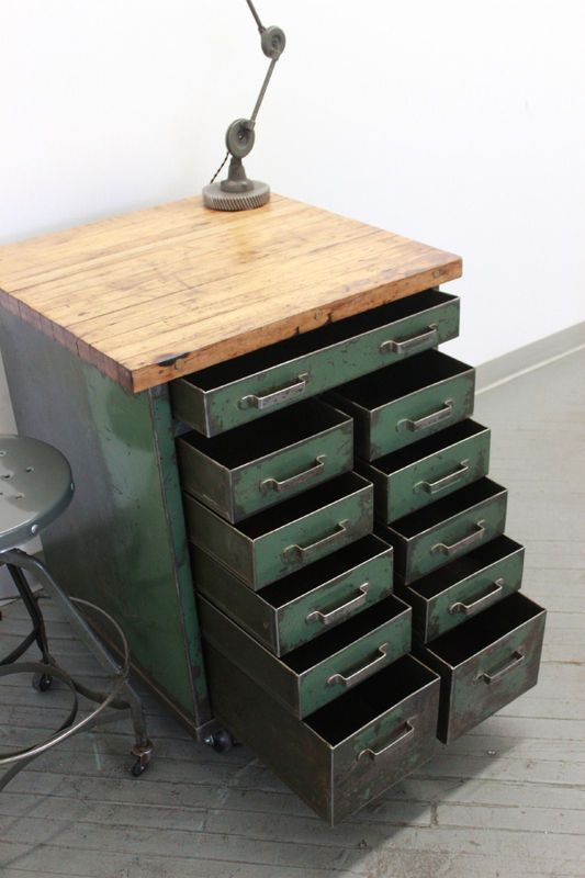 Vintage Industrial Workbench Kitchen Island Rolling Tool Cabinet Cart