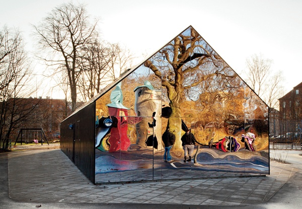 """In Copenhagen's central park of Fælledparken, architects Mads Lund and Robert Paulsen of MLRP reinterpreted the """"house of mirrors"""" when renovating a 1,400-sf, graffiti-covered shed.  #about #home #Exterior"""