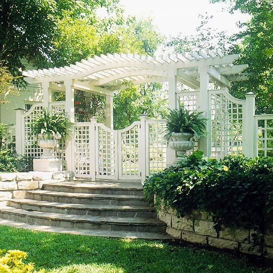 Trellis design ideas trellises with fences or screens for Fence with arbor