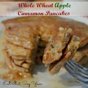 Whole Wheat Apple Cinnamon Pancakes With Cinnamon Syrup Recipe ...