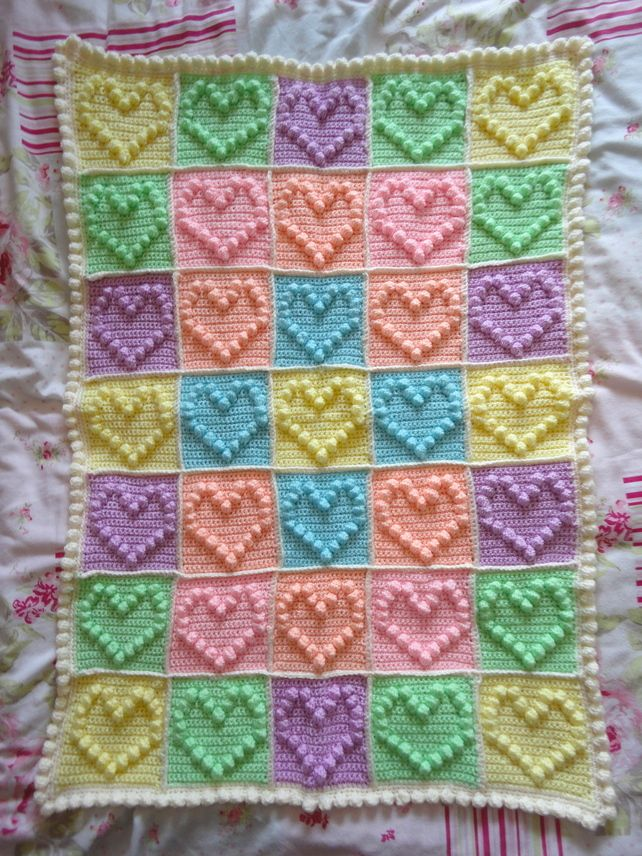 Bobble Heart Crochet Baby Blanket