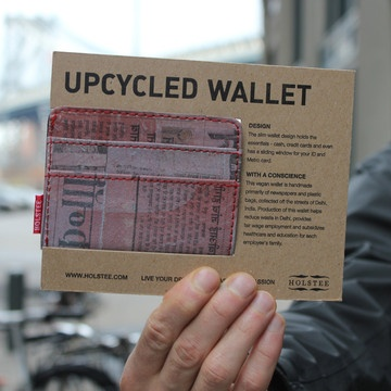 Purple Wallet by Holstee.  [Made from plastic bags and newspapers collected on the streets of Delhi, India.]