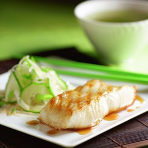 miso glazed sea bass and cucumber salad. | Recipes to try | Pinterest
