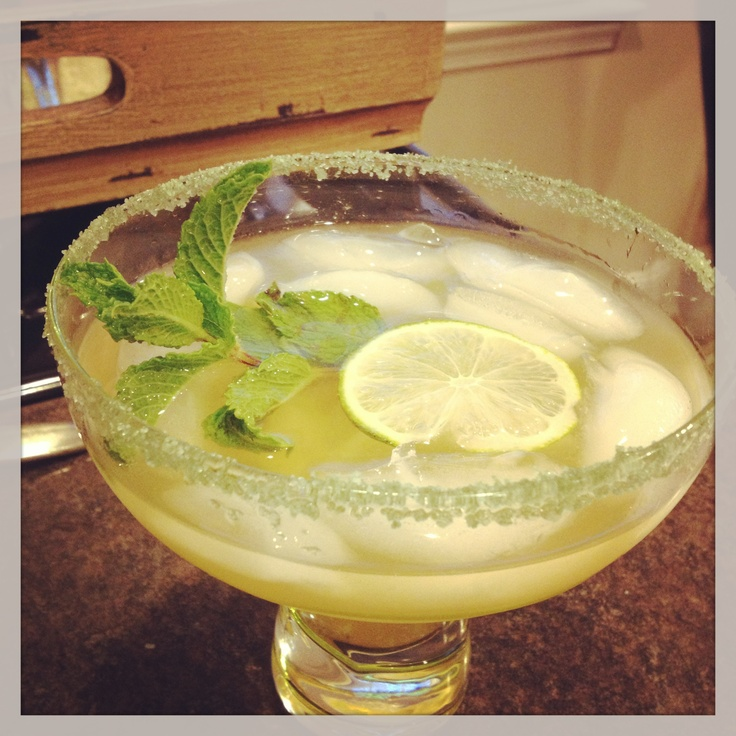 Robin's Margarita with a touch of mint and garnish of lime