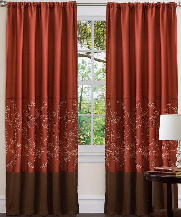 Brown And Light Blue Curtains Colorblock Grommet Top