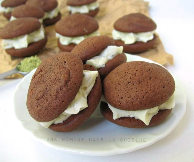 Chocolate Whoopie Pies with Fresh Mint Buttercream Filling