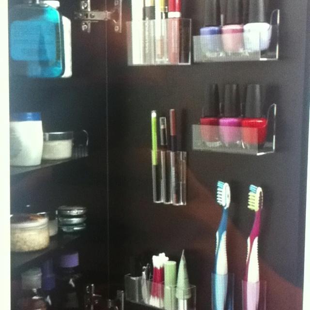 bathroom cabinet organization gotta try pinterest