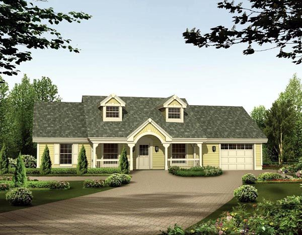 Cape cod country ranch house plan 87398 for Country cape cod house plans