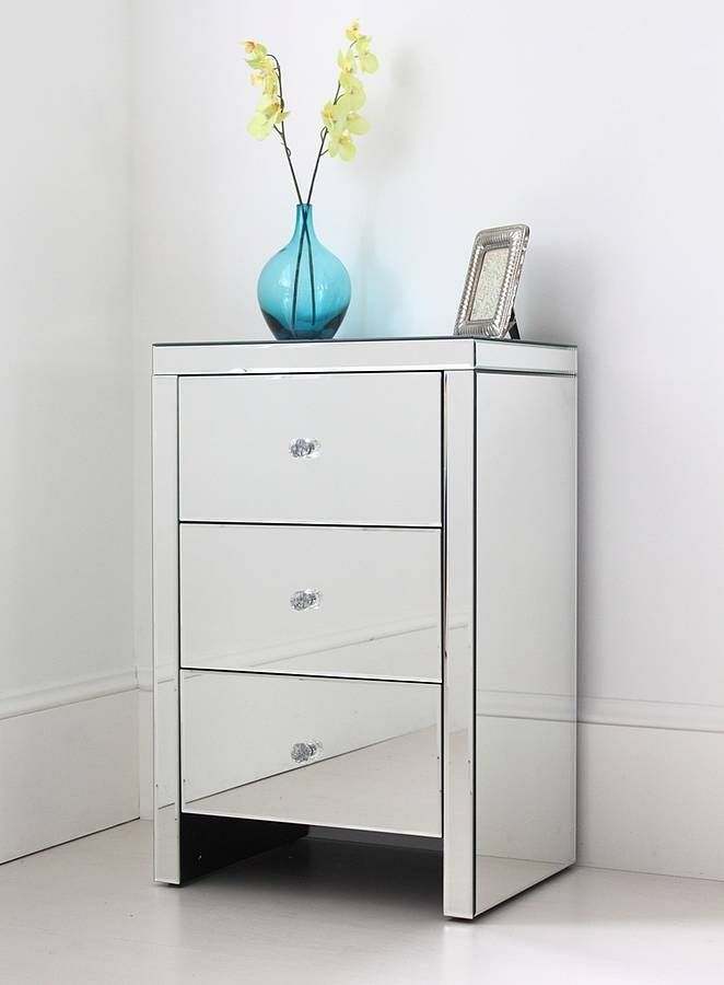 Mirror Bedside Table : Elsie Large Mirrored Bedside Table