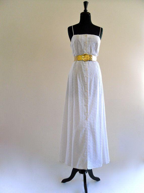 White Cotton Eyelet Pintuck Boho Wedding Dress Maxi Gown