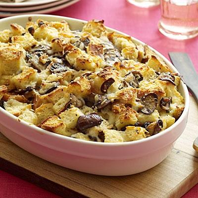 Cheesy Mushroom Bread Pudding | Recipe