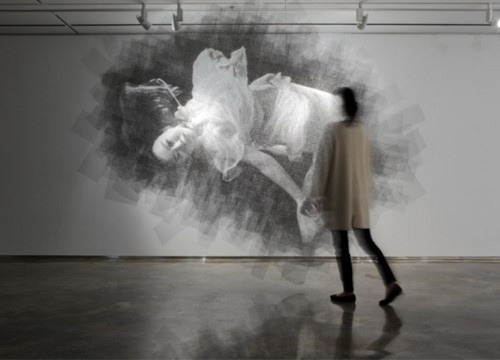 """Korea-based sculptor Seung Mo Parkcreates giant portraits by cutting layer after layer of mesh wire. Each piece is several inches thick as each plane that forms the final image is spaced a few finger widths apart, giving the portraits them a unique, almost 3D effect. The work is called MAYA, which means """"illusion"""" in Sanskrit."""