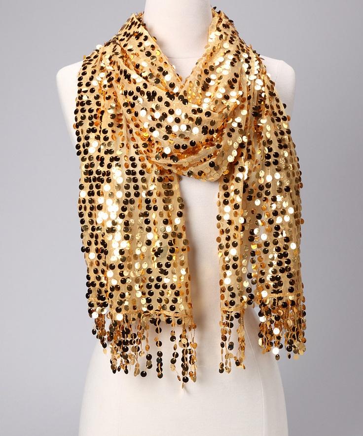 Gold Mirror Sequin Scarf
