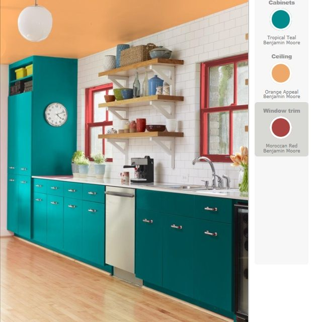 teal and RED YELLOW orange kitchen  Teal cabinets, red windows